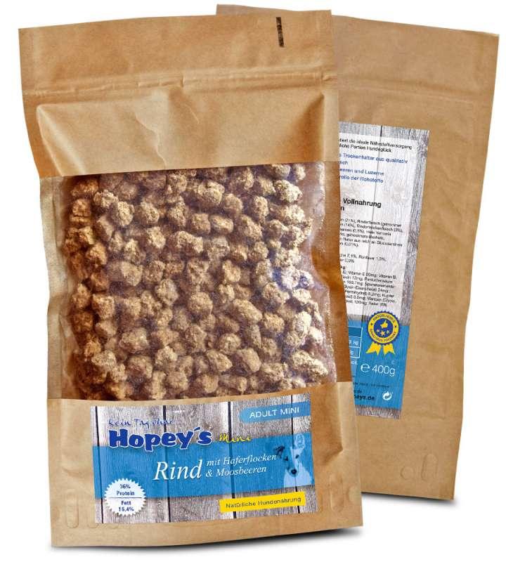 Trockenfutter für kleine Hunde: Hopey's Hundefutter mit Rindfleisch